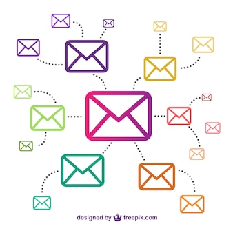 Email icons connected