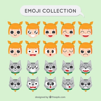 Emoji collection of girl and cat