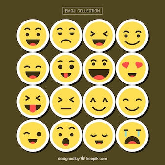 Emoticon collection with different faces