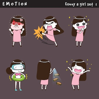 Emotion funny a girl set 1