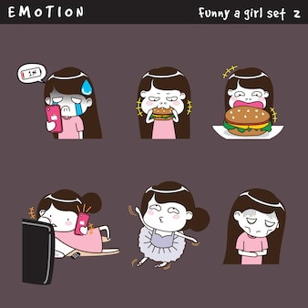 Emotion funny a girl set 2
