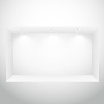 Empty display window with spotlights