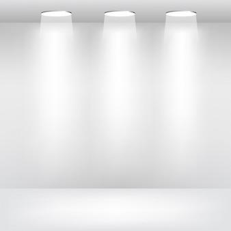 Empty room with spotlights