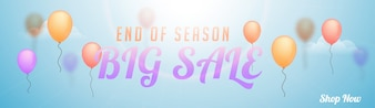 End of Season, Big Sale Web Banner with Balloons.