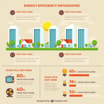 Energy efficiency infographic with buildings