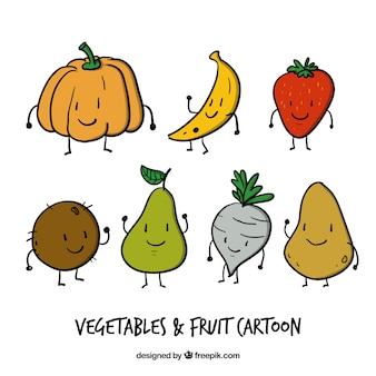 Enjoyable hand drawn vegetables and fruit cartoons