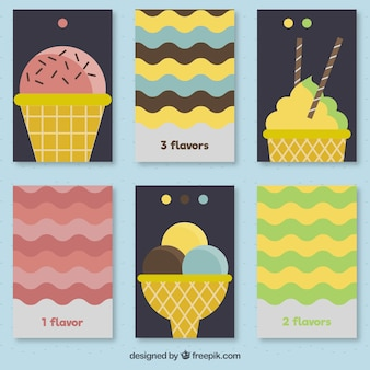 Enjoyable ice-creams with waves lines cards