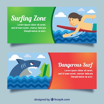 Enjoyable surf banners with a surfer and a shark