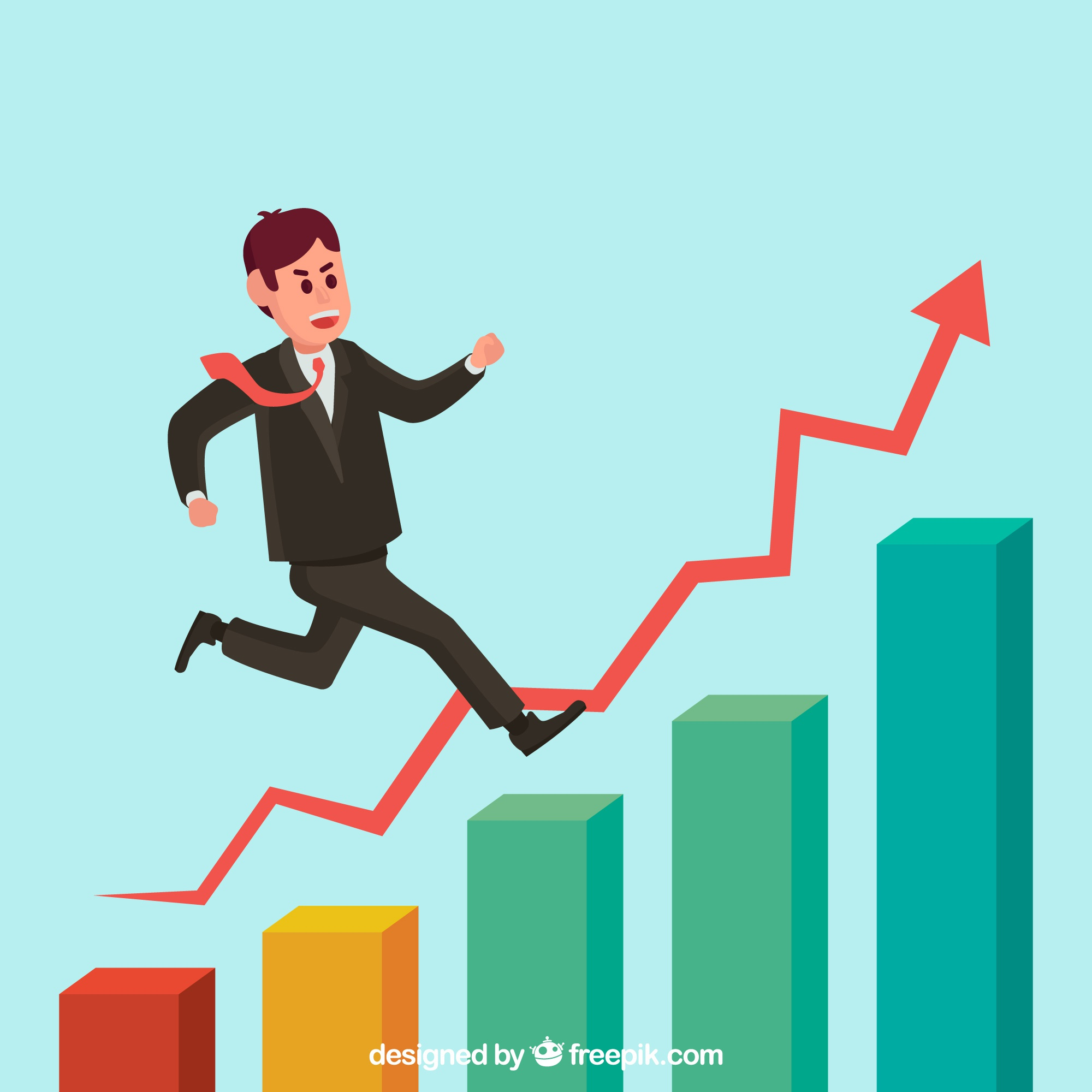 Entrepreneur on top of a growth chart