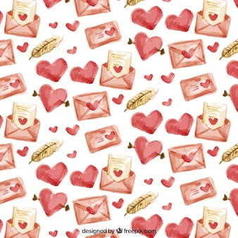 Envelope pattern with watercolor hearts