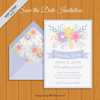 Envelope with floral wedding invitation