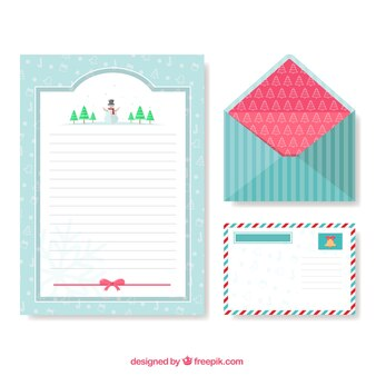 Envelope with postcard and christmas card