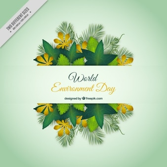 Environment day background with floral decoration