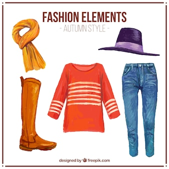 Equipment of watercolor autumn clothing