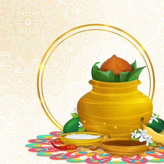 Ethnic background with mandala and food elements