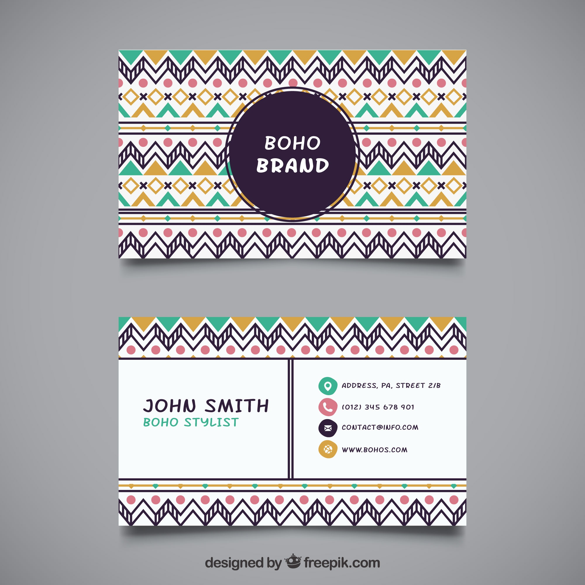 Ethnic business card in flat design