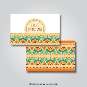 Ethnic business card with flat decoration
