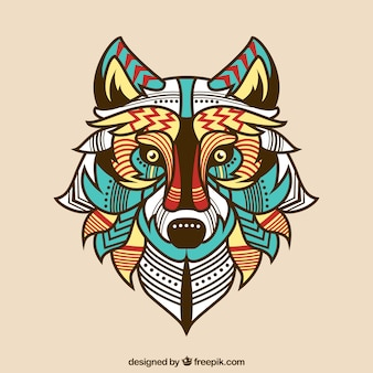 Ethnic colored wolf background