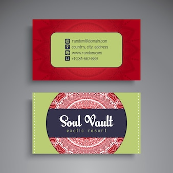 Ethnic colorful business card with mandala concept