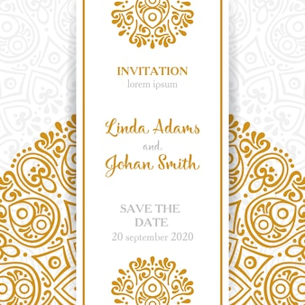 Ethnic golden and white wedding invitation