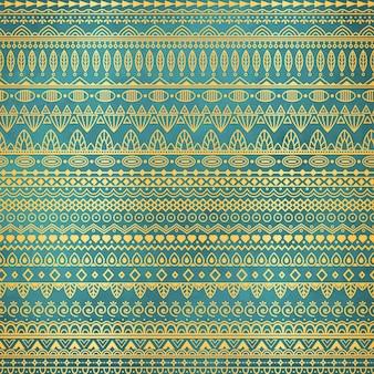 Ethnic golden pattern on teal background