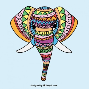 Ethnic hand drawn colored elephant