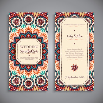 Ethnic mandala style wedding invitation