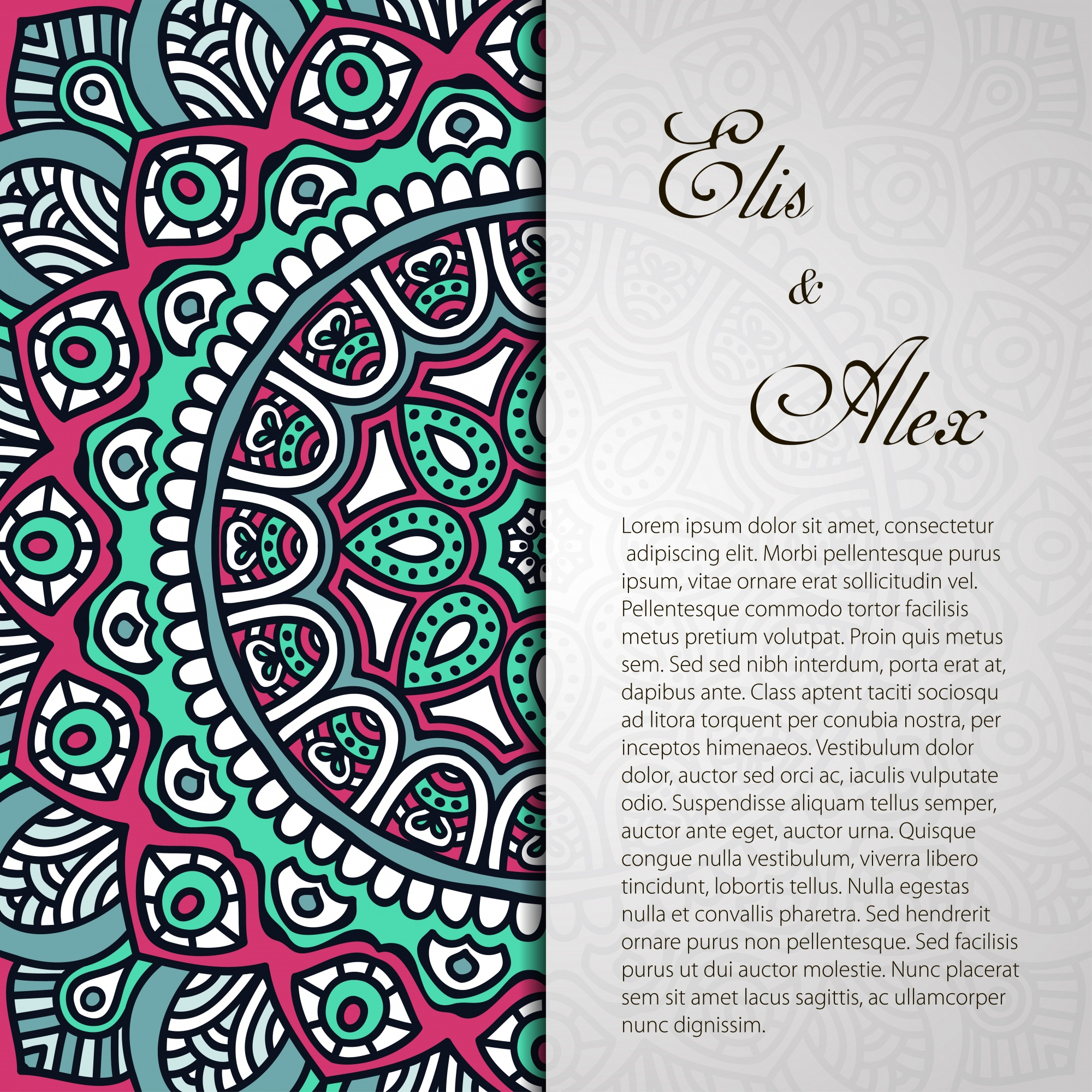 Ethnic mandala wedding invitation with space for text