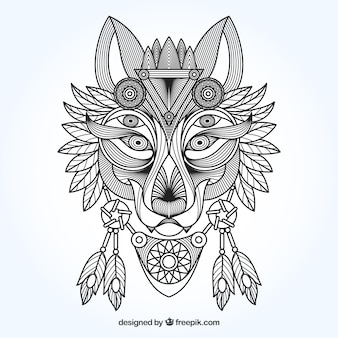 Ethnic ornamental wolf background