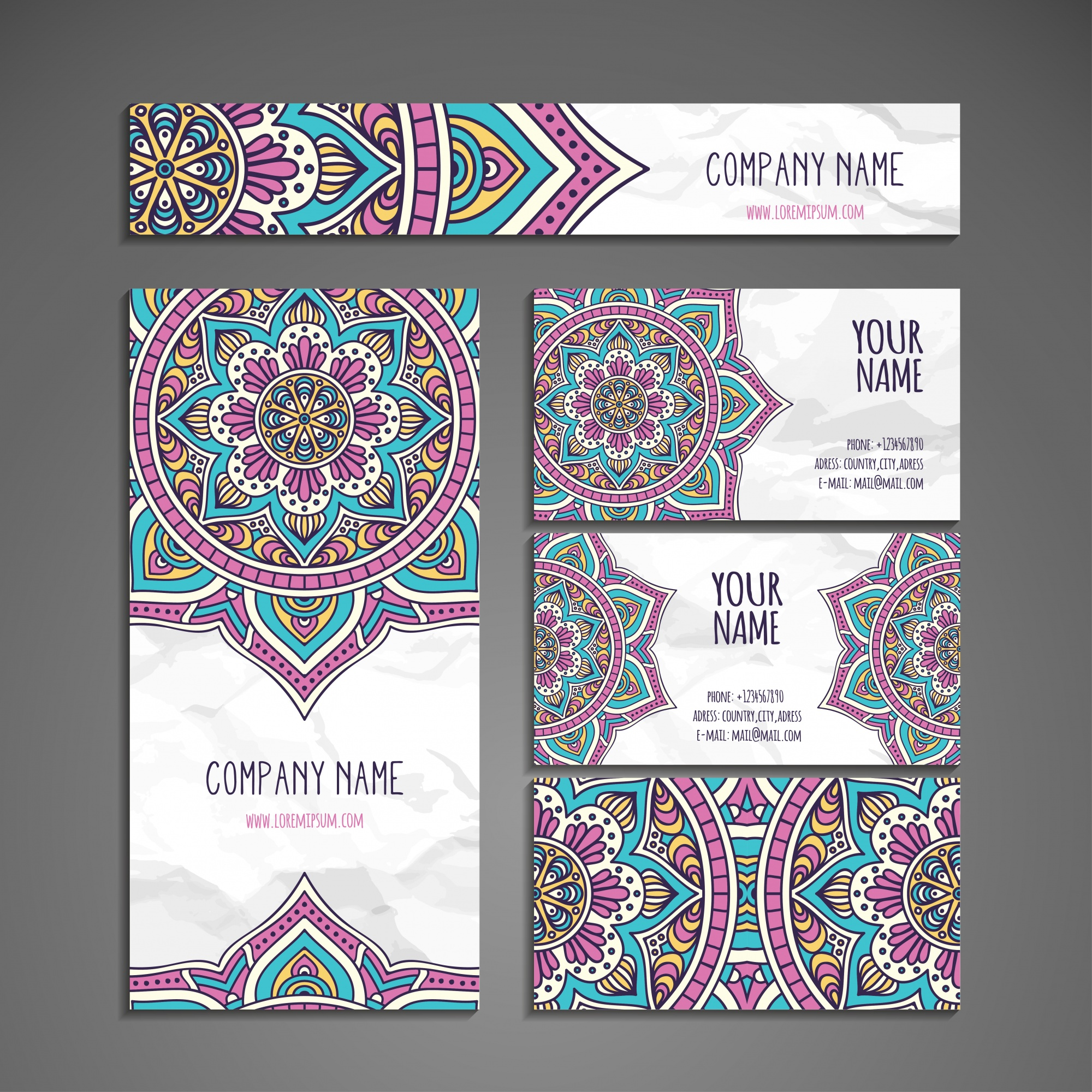 Ethnic stationery collection in mandala style