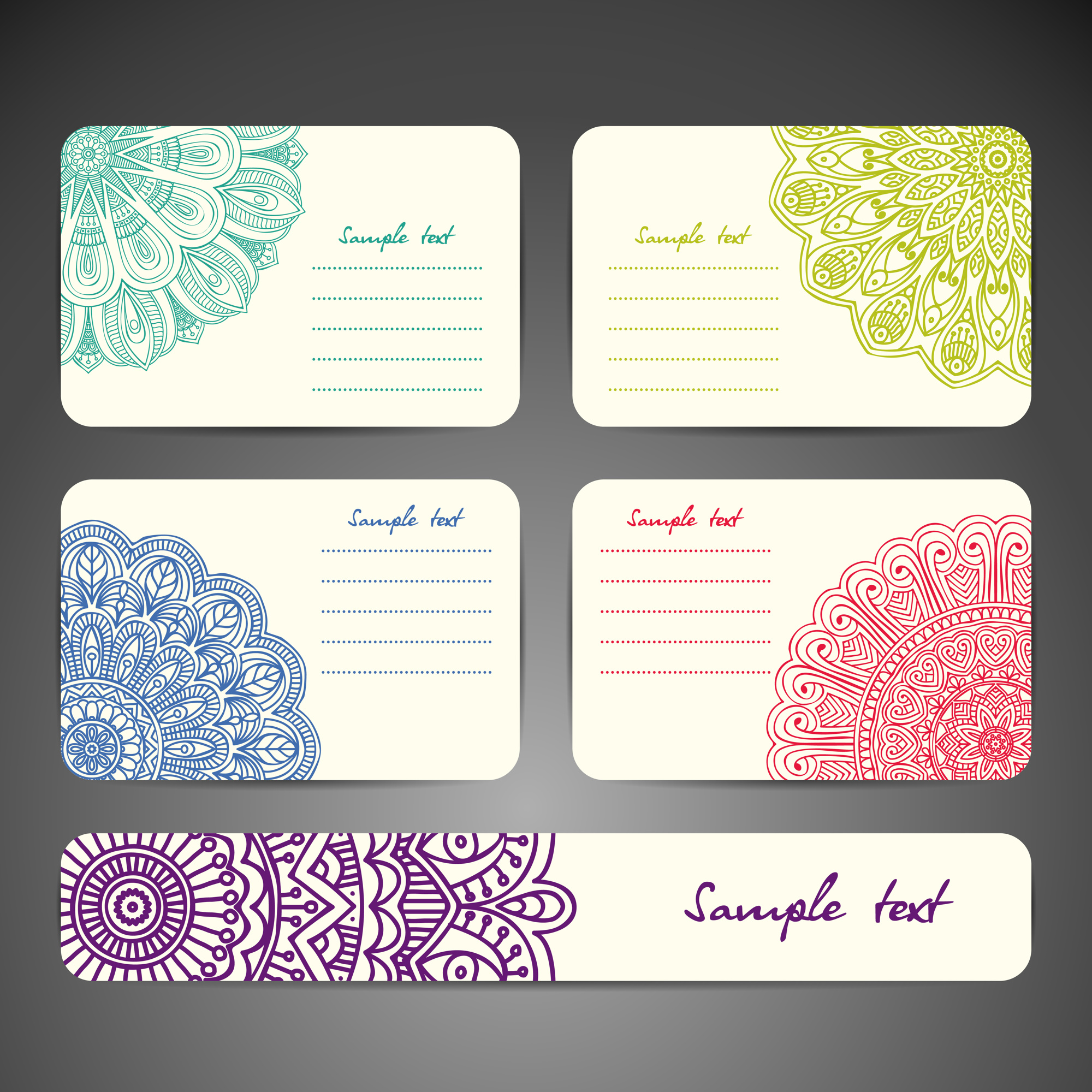 Ethnic stationery collection of four cards
