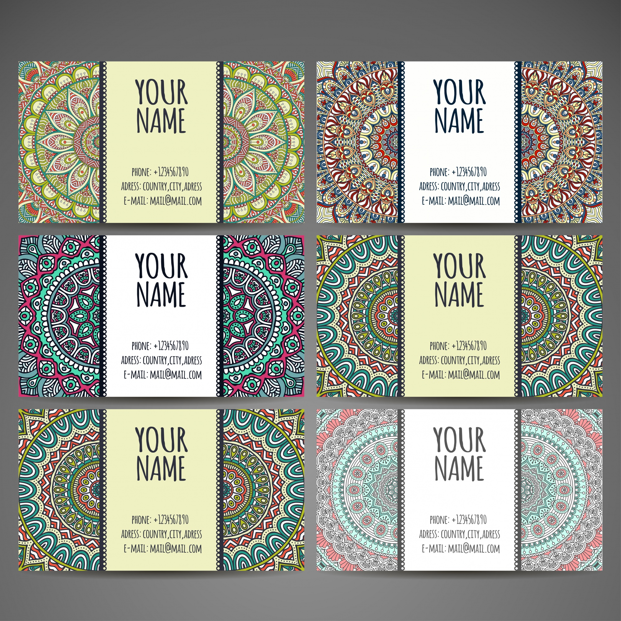 Ethnic style business card collection