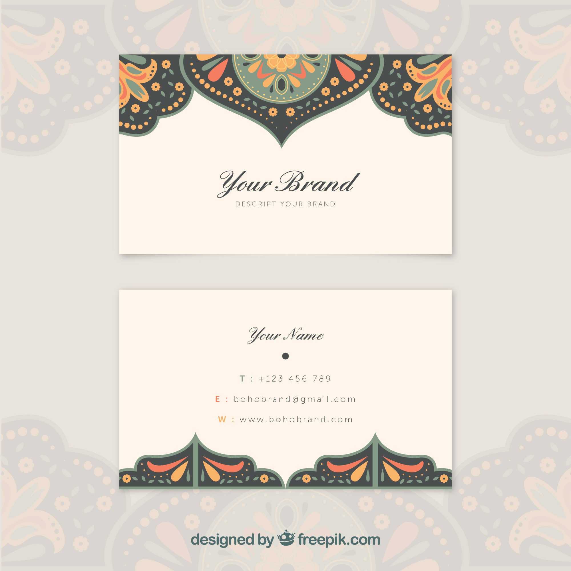 Ethnic visiting card with color details