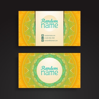 Ethnic yellow business card