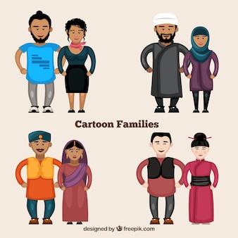 Ethnical Cartoon Families