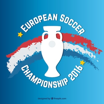 Euro 2016 with hand painted france flag and trophy background