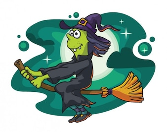 Evil witch flying in cartoon design
