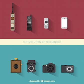 Evolution of telephones and photography cameras