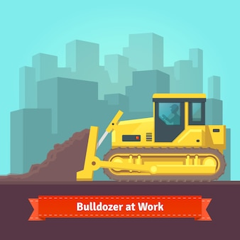 Excavator tractor levelling land