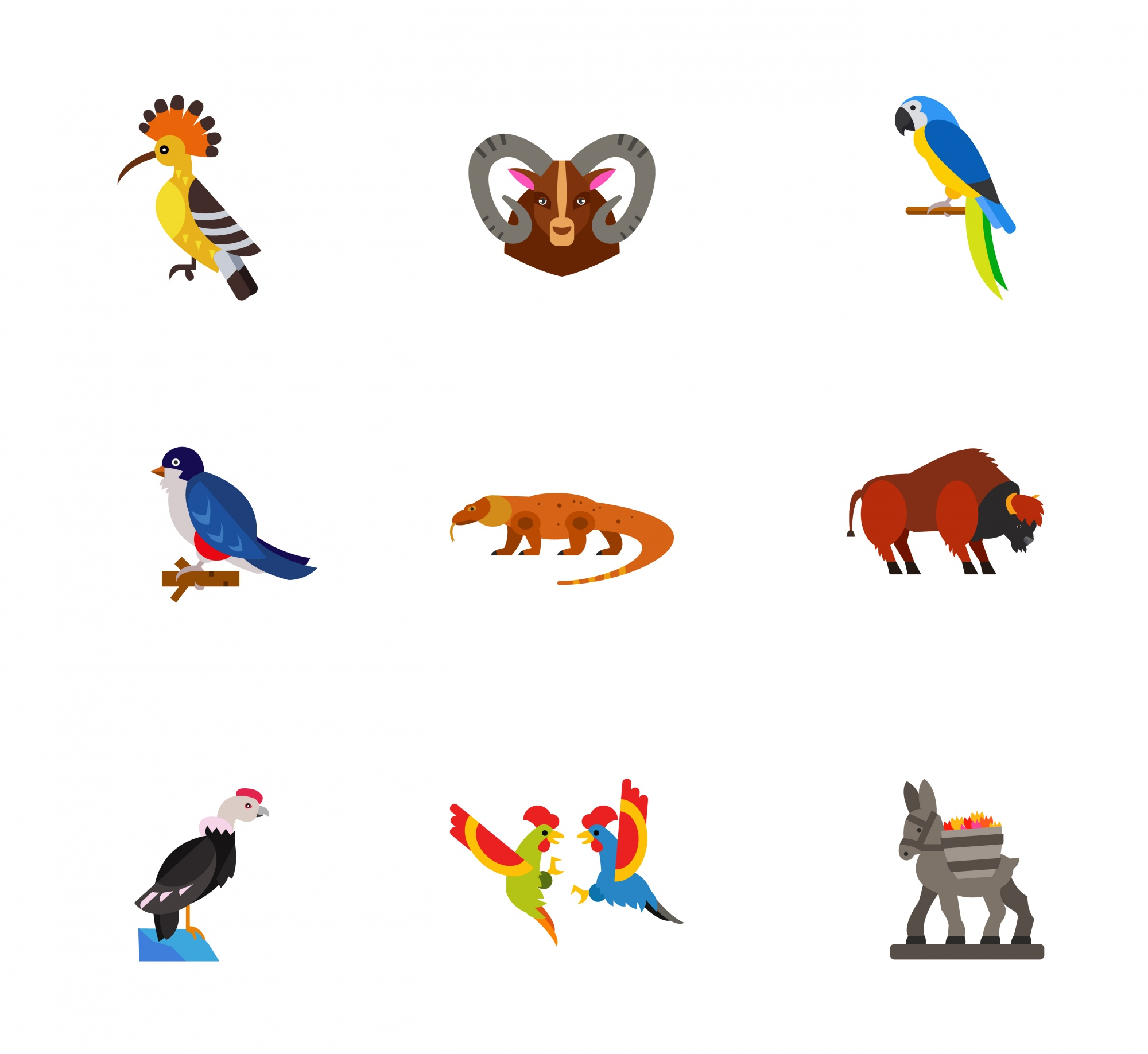 Exotic animals icons collection