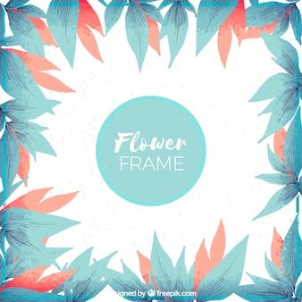 Экзотическая цветочная рамка с акварельным стилем