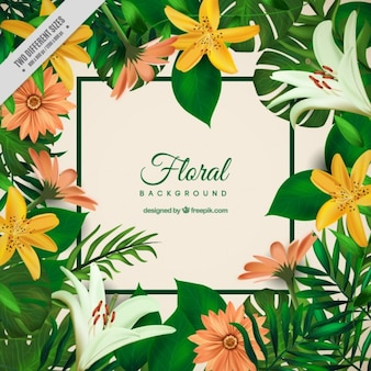 Exotic flowers and palm leaves background