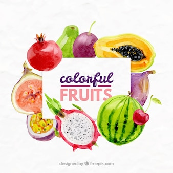 Exotic fruits background in watercolor effect