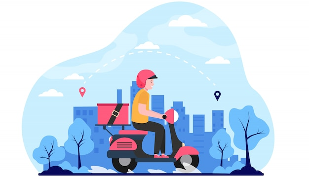 Express courier on scooter shipping order