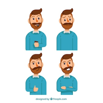 Expressive businessman character with blue pullover