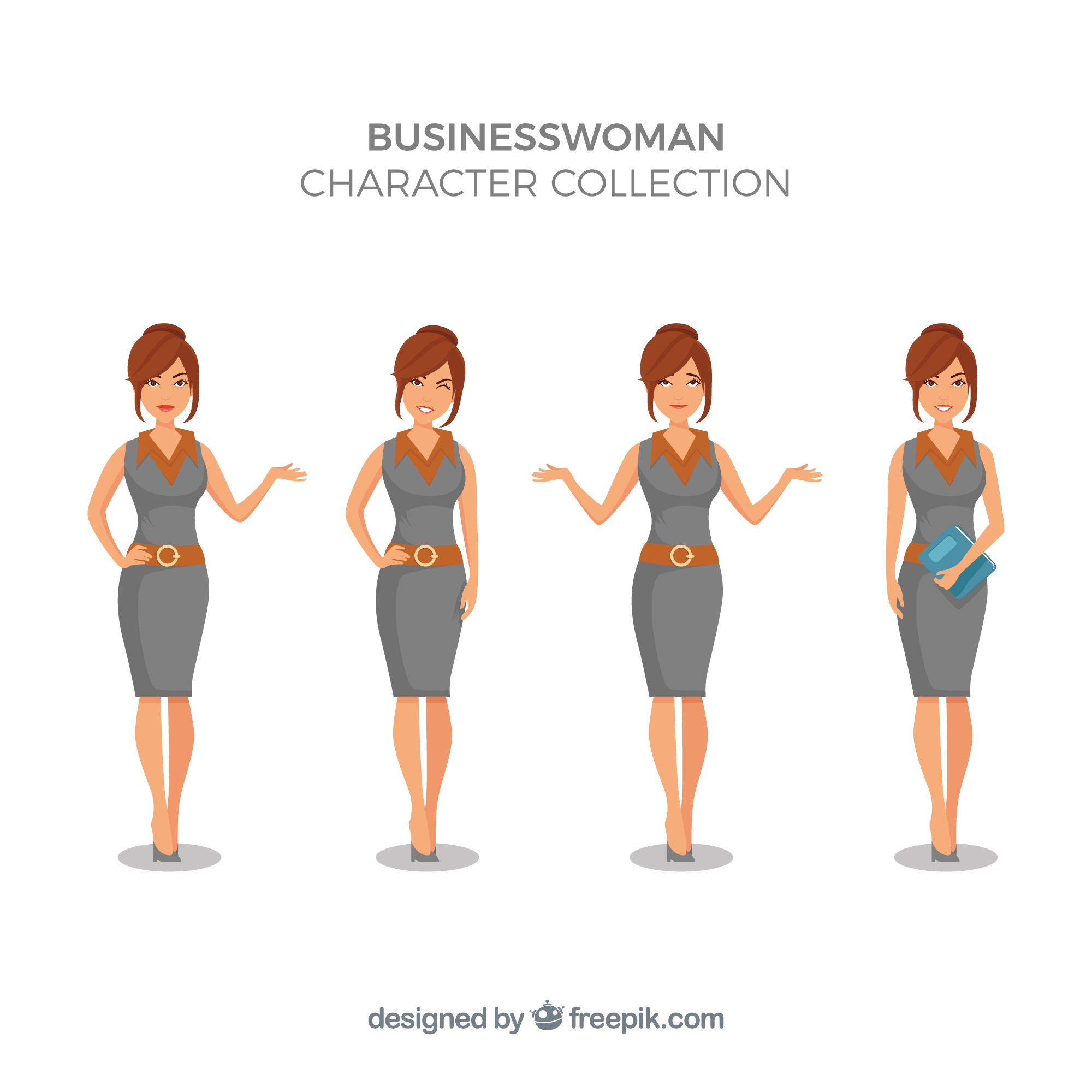 Expressive businesswoman character collection