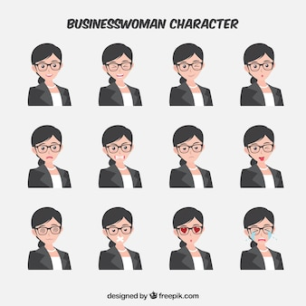 Expressive businesswoman character in flat design