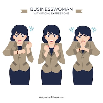Expressive businesswoman character in three different moments
