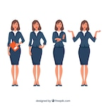 Expressive businesswoman character pack