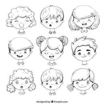 Expressive children's face assortment